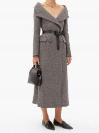 ALTUZARRA Barbara off-shoulder wool-blend coat ~ vintage style bardot coats ~ off the shoulder outerwear