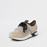 RIVER ISLAND Beige bling runner lace up trainers / embellished sneaker / sports luxe footwear