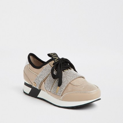 RIVER ISLAND Beige bling runner lace up trainers / embellished sneaker / sports luxe footwear - flipped