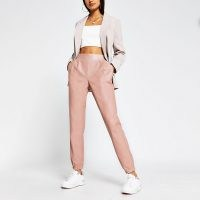 RIVER ISLAND Beige faux leather slim joggers ~ sports luxe jogging bottoms