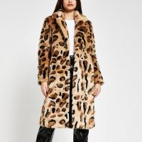 River Island Beige leopard print faux fur coat – winter glamour – animal prints – glamorous fluffy coats