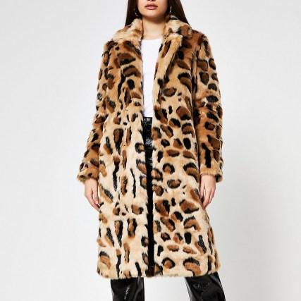 River Island Beige leopard print faux fur coat – winter glamour – animal prints – glamorous fluffy coats - flipped
