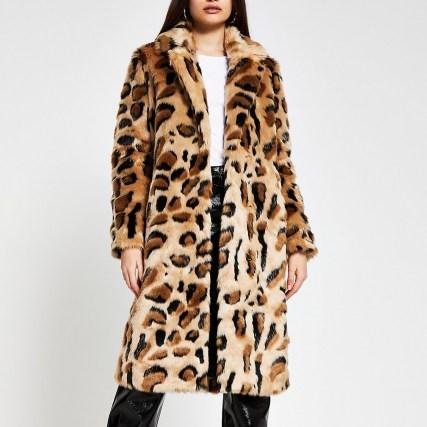 River Island Beige leopard print faux fur coat – winter glamour – animal prints – glamorous fluffy coats