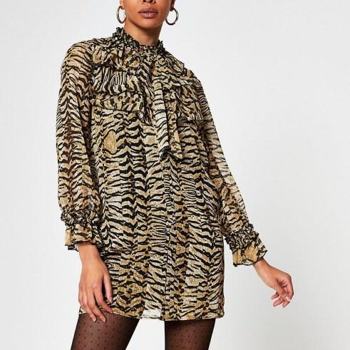 RIBER ISLAND Beige long sleeve animal print mini dress / ruffled high neck dresses - flipped