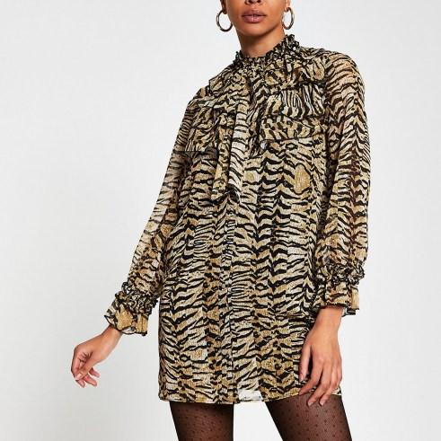 RIBER ISLAND Beige long sleeve animal print mini dress / ruffled high neck dresses