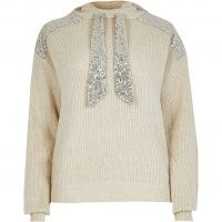 River Island Beige long sleeve sequin panel hoody | sparkly knitted hoodies