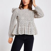 River Island Beige peplum lace puff sleeve top | tops with volume