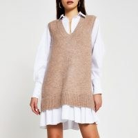 River Island Beige poplin tunic dress | knitted overlay dresses