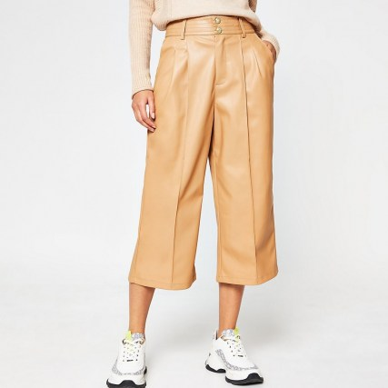 River Island Beige PU pleat front cullottes – faux leather culotte trousers – crop leg - flipped