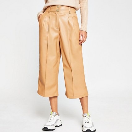 River Island Beige PU pleat front cullottes – faux leather culotte trousers – crop leg