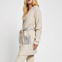 River Island Beige sequin cable knit belted cardigan | sequinned cardigans | neutral knitwear