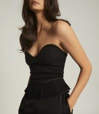 REISS BERKLEY WOOL BLEND FITTED BODICE BLACK / evening glamour / glamorous strapless tops