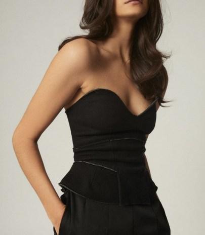 REISS BERKLEY WOOL BLEND FITTED BODICE BLACK / evening glamour / glamorous strapless tops - flipped