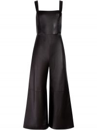 Alice+Olivia Avelina jumpsuit – sleeveless vegan leather wide leg jumpsuits – faux fabric – cropped leg