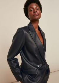 WHISTLES ALIZA WAISTED LEATHER BLAZER / black luxe blazers / luxury double breasted jacket