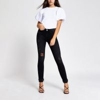 River Island Black Amelie mid rise distressed jean | ripped jeans
