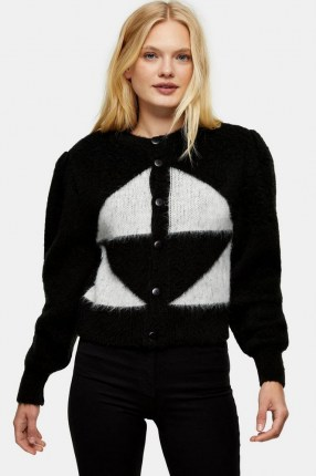 Topshop Black And White Brushed Argyle Knitted Cardigan | fluffy monochrome cardigans | knitwear - flipped