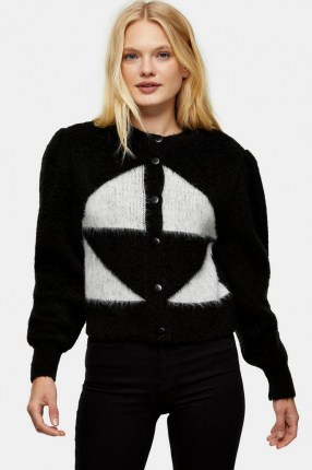 Topshop Black And White Brushed Argyle Knitted Cardigan | fluffy monochrome cardigans | knitwear