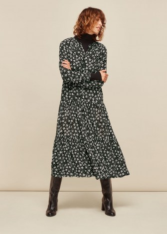 WHISTLES DAISY SPOT TRAPEZE DRESS BLACK and WHITE / floral dresses - flipped