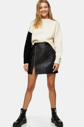 Topshop Black And White Super Cropped Knitted Sweatshirt | monochrome knits | colour block jumpers - flipped