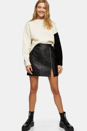 Topshop Black And White Super Cropped Knitted Sweatshirt | monochrome knits | colour block jumpers