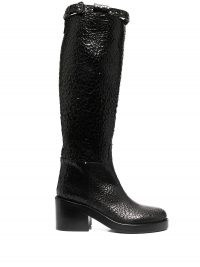 Ann Demeulemeester crinkled leather knee-length boots ~ black textured chunky heel boot ~ winter footwear
