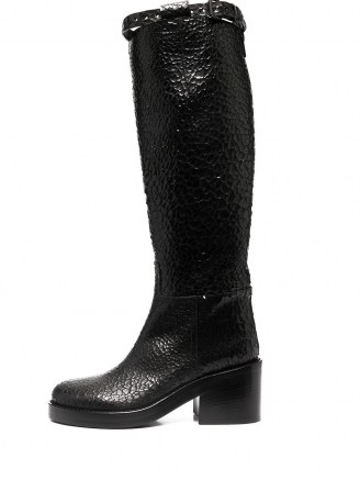 Ann Demeulemeester crinkled leather knee-length boots ~ black textured chunky heel boot ~ winter footwear - flipped