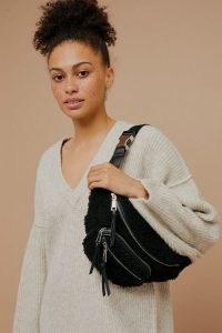 Topshop Black Borg Bumbag / faux fur fanny pack / textured belt bags / bumbags