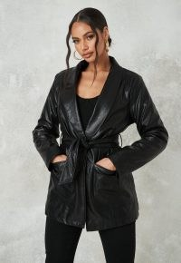 Missguided black borg lined belted faux leather jacket ~ self tie jackets