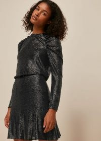 WHISTLES CARLY SEQUIN FLIPPY SKIRT / shiny skirts / sequined party clothing