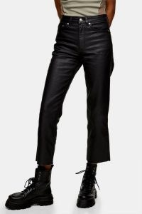 Topshop Black Coated Straight Jeans | dark demin | raw hems