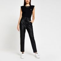 RIVER ISLAND Black croc coated joggers ~ sports luxe trousers
