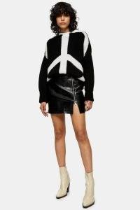 Topshop Black Croc PU Zip Mini Skirt | thigh high slit skirts