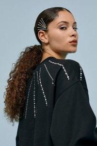 TOPSHOP Black Crystal Neck Sweatshirt / embellished sweatshirts / glamorous sweat top