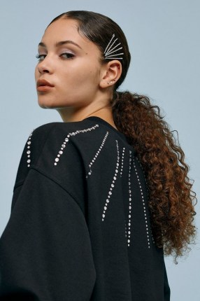 TOPSHOP Black Crystal Neck Sweatshirt / embellished sweatshirts / glamorous sweat top - flipped
