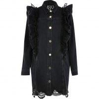 Black denim mesh frill shirt dress | ruffle trimmed dresses | frayed hem