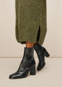 WHISTLES DINA HEELED ANKLE BOOT / black leather block heel boots
