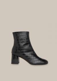 WHISTLES ELORA CROC BLOCK HEEL BOOT / black crocodile effect leather boots