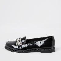 River Island Black embellished loafers   shiny rhinestone loafer