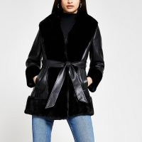 River Island Black faux fur PU belted jacket ~ faux leather self tie jackets