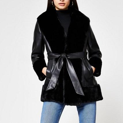 River Island Black faux fur PU belted jacket ~ faux leather self tie jackets - flipped