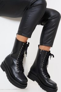 IN THE STYLE BLACK FAUX LEATHER HIGH LACE UP BOOTS ~ chunky combat boots
