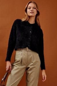 Topshop Black Fluffy Ribbed Polo Cardigan | collared cardigans