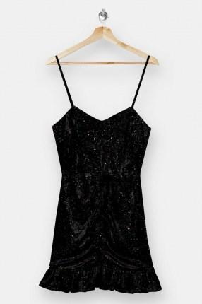 Topshop Black Glitter Velvet Ruched Mini Dress | glittering LBD | strappy party dresses - flipped