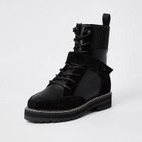 RIVER ISLAND Black lace up suede hiker boot ~ front strap detail boots