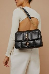 TOPSHOP Black Large Soft Triangle Shoulder Bag / quilted style bags