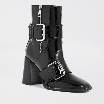 RIVER ISLAND Black leather buckle square toe boot | patent biker style boots - flipped