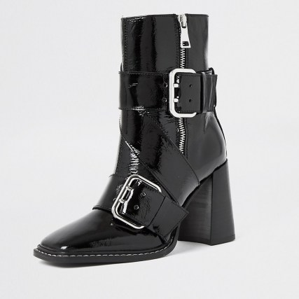 RIVER ISLAND Black leather buckle square toe boot | patent biker style boots