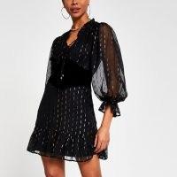 River Island Black long sleeve corset lurex dress | metallic LBD | volume sleeved dresses