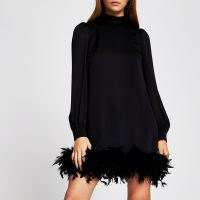 RIVER ISLAND Black long sleeve feather swing mini dress ~ lbd ~ party dresses